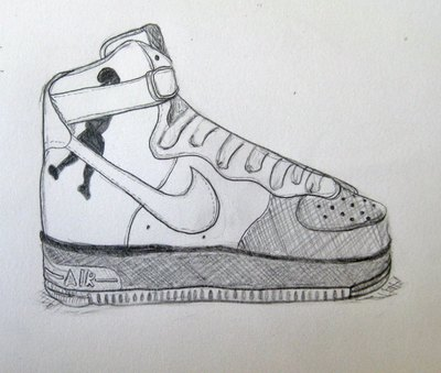 "Nike Air Force Ones High Supreme ""Sheed"". Drawing by Rachel Asher."