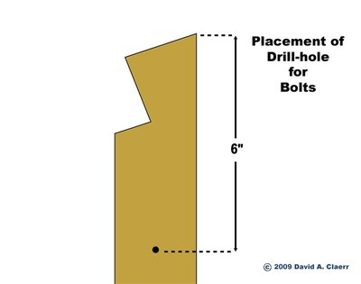 Position of drill hole for bolt.