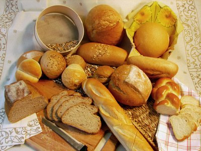 Traditional types of French bread are sold in boulangeries across France.