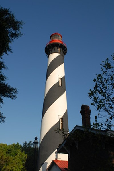 Many lighthouses are trimmed in bold paint stripes.