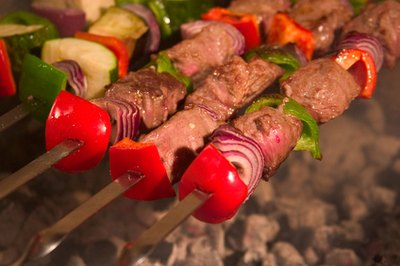 Skewered kabobs are a hearty appetizer.