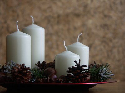 Advent candles count down toward Christmas.