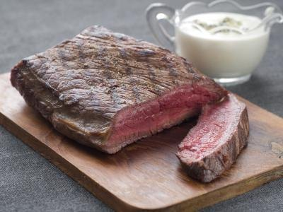 Rare cooked beef with horseradish sauce