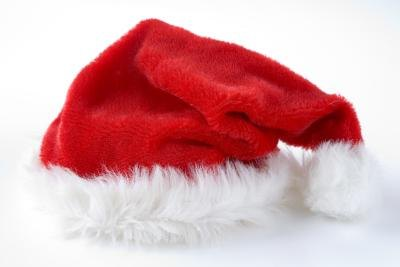 Red Santa hat against white background.