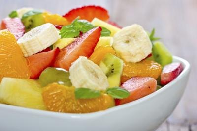 Bowl of fresh tropical fruit