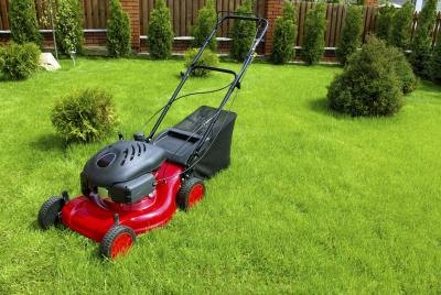 Red lawn mower on grass.
