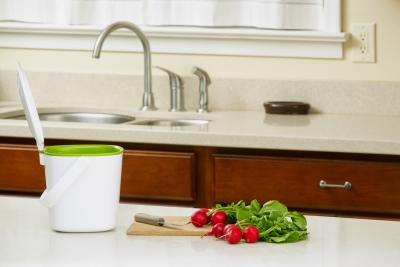 A compost container sits on the counter next to vegetables on a cutting board.