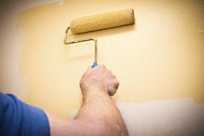 man using roller paint on wall