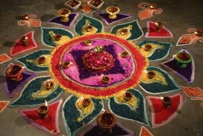 A traditional colorful rangoli