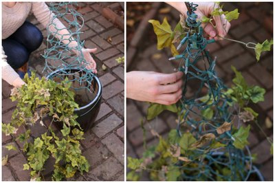 Faux floral ivy bunches are easy to work with and can be found at most craft stores.