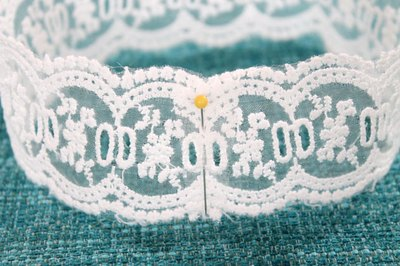 Pin and sew the lace.