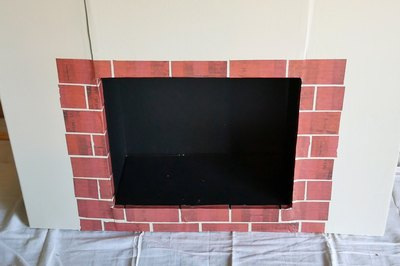 scrapbook paper bricks in place