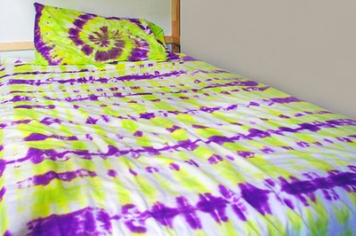 Tie-dye your sheets for colorful look.