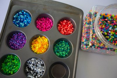 Sort out all the colors using a muffin tin.