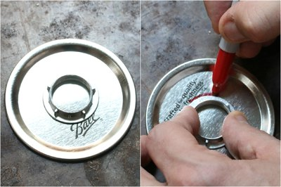 Make sure to trace the lock nut onto the center of the lid.