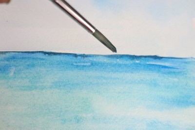 Painting a horizon landscape in the distance.