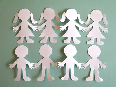 Create paper people cut outs in various silhouettes.