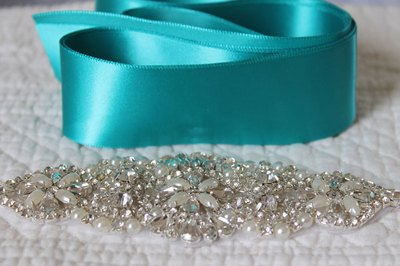 Materials needed for a wedding dress sash.