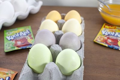 You'll have lovely pastel colored eggs using this simple Kool-Aid recipe.