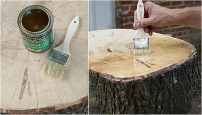 Apply an oil-based topcoat finish on the table surface.