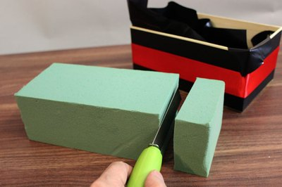 Cut floral foam to fit in your box.