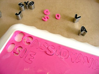 Cut out words and shapes from the soap.