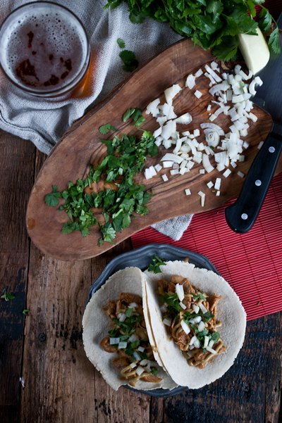 How to Make Beer Braised Chicken Tacos with IPA Avocado Cream and Beer Corn Tortillas