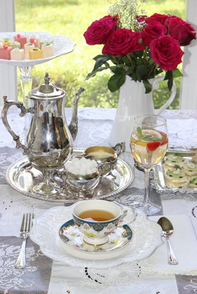 Tea party table settings.