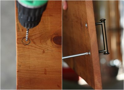 Measure and screw seamless handle screws from the underside of the board.