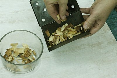 Hickory, apple or cherry wood chips give off a great smoky scent.