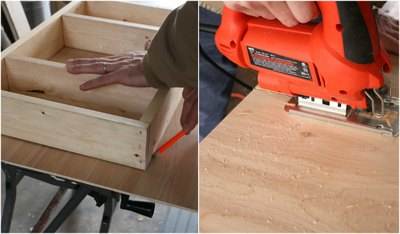 Cut the underlayment; it becomes the back of the cabinet.