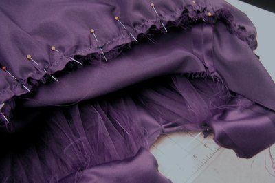 The skirt lining is not as full as the tulle layers.