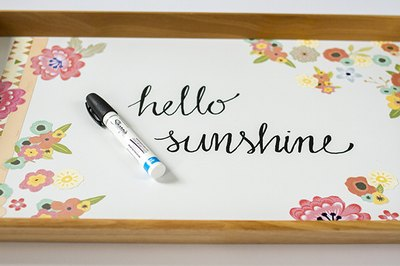 A cursive message in the center of the tray adds personalization.
