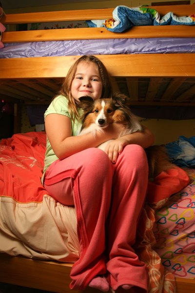 A girl sits on the bottom bunk with her dog.