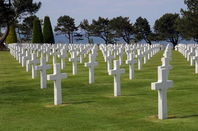 The white crosses of a military cemetary.