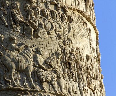 Detail of Trajan's column relief sculpture in Rome