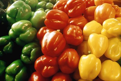 Red, yellow and green peppers.