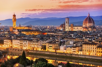 The city of Florence at sunset.