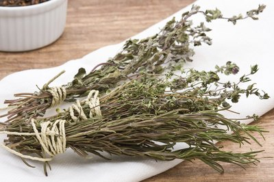 Dried herbs on table
