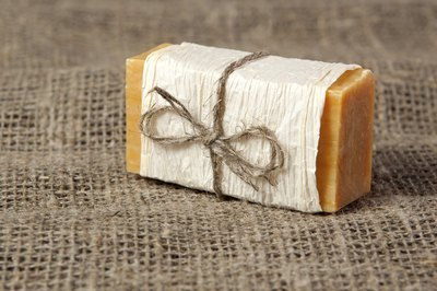Soap with paper and ribbon