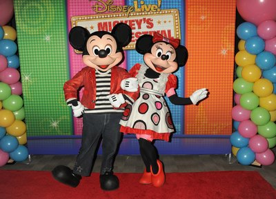 Mickey Mouse and Minnie Mouse on the red carpet