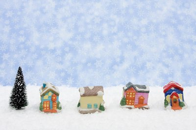 Christmas village with faux snow.