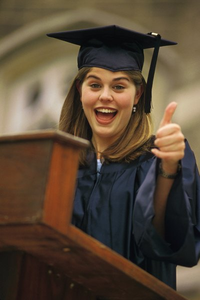 A girl gives an optimistic speech at her highschool graduation.