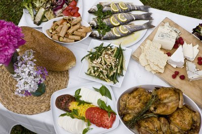 Food platters at outdoor party