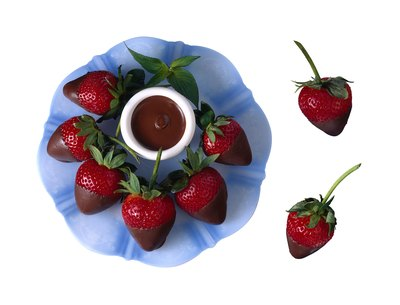Serve chocolate dipped strawberries.