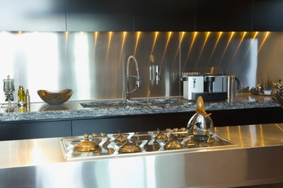 Stainless steel countertops look sleek and modern.