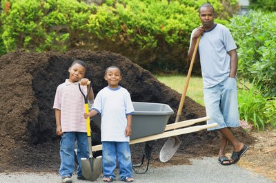 Father and sons standing in front of a pile of soil