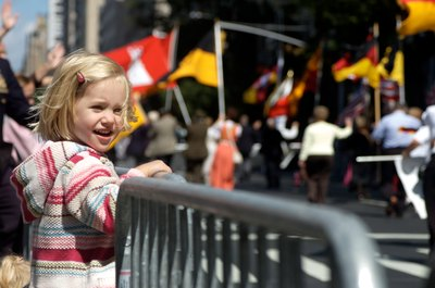 Girl watching parade