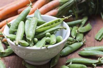 Fresh snap peas and carrots
