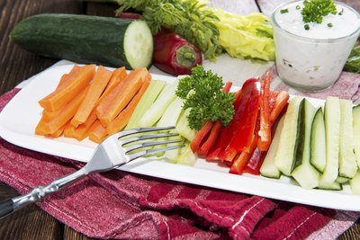 Sliced carrot, celery, cucumber and red pepper